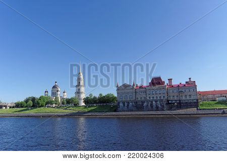 Rybinsk, Russia. - June 3.2016. Rybinsk State Historical, Architectural and Art Museum-Reserve and the Transfiguration Cathedral. View from the river.