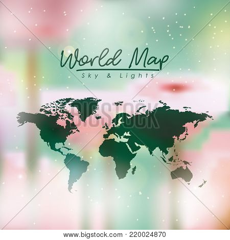 world map in green color and multicolor opacity background vector illustration