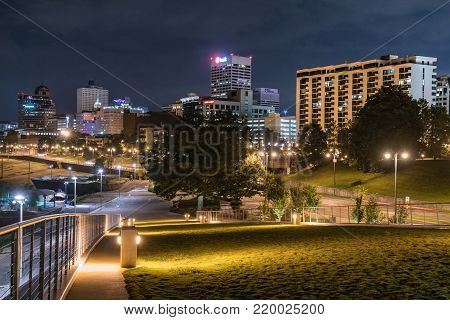 MEMPHIS, TENNESSEE-OCTOBER 10, 2017: Night skyline of downtown Memphis, Tennessee along the Mississippi river