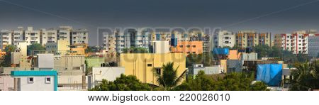Apartment buildings in Hyderabad India with overcast skies