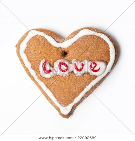 This is closeup of Christmas biscuit on white