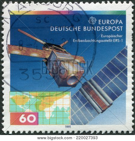 GERMANY - CIRCA 1991: A stamp printed in the Germany, shows the ERS-1 (European Remote-Sensing Satellite), circa 1991