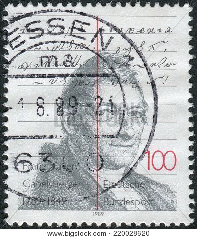 GERMANY - CIRCA 1989: A stamp printed in the Germany, dedicated to the 200th anniversary of Franz Xaver Gabelsberger, circa 1989
