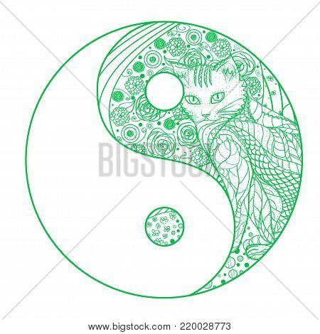 Yin and Yang. Zentangle. Hand drawn mandala on isolation background. Design for spiritual relaxation for adults. Line art creation. Line art creation. Outline for tattoo, printing on t-shirts, posters
