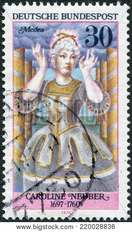 GERMANY - CIRCA 1976: A stamp printed in the Germany, depicts German actress Caroline Neuber as Medea, circa 1976