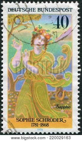 GERMANY - CIRCA 1976: A stamp printed in the Germany, depicts German actress Sophie Schroder as Sappho, circa 1976