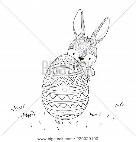 easter bunny behind easter egg in monochrome silhouette vector illustration