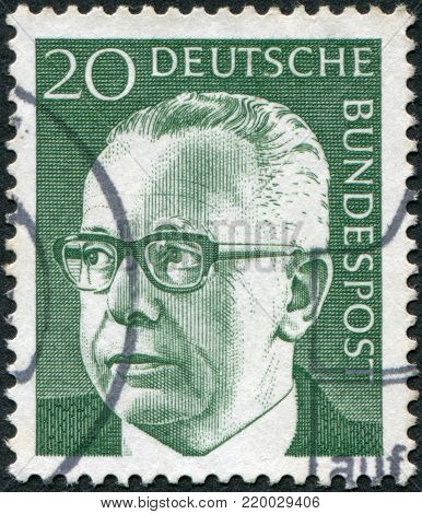 GERMANY - CIRCA 1970: A stamp printed in the Germany, shows the president of Germany Gustav Walter Heinemann, circa 1970