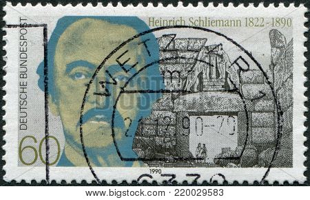 GERMANY - CIRCA 1990: A stamp printed in the Germany, shows Heinrich Schliemann, circa 1990