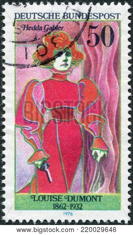 GERMANY - CIRCA 1976: A stamp printed in the Germany, the German actress portrayed Louise Dumont as Hedda Gabler, circa 1976