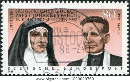 GERMANY - CIRCA 1988: A stamp printed in the Germany, shows the Beatification of Edith Stein and Rupert Mayer by Pope John Paul II in 1987, circa 1988