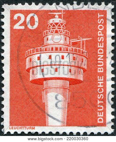 GERMANY - CIRCA 1976: A stamp printed in the Germany, shows the Alte Weser Lighthouse, circa 1976