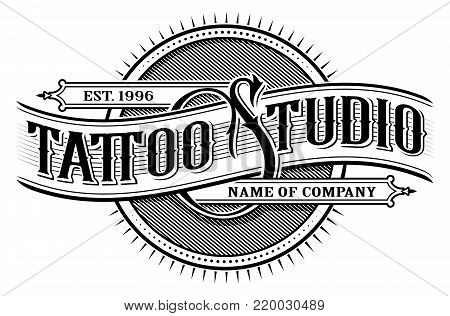Vintage tattoo studio lettering. Tattoo design, logo template, shirt graphic. Text is on the separate layer. (VERSION FOR WHITE BACKGROUND)