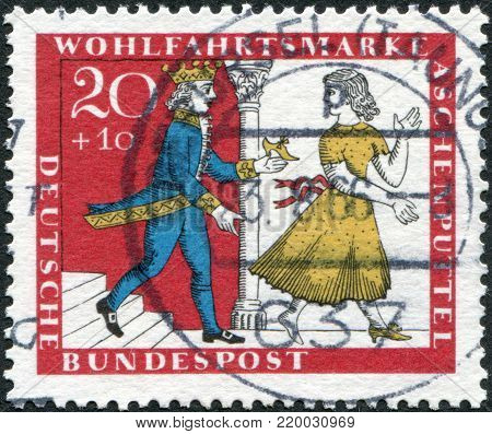 GERMANY - CIRCA 1965: A stamp printed in the Germany, shows a scene from a fairy tale of the Brothers Grimm,