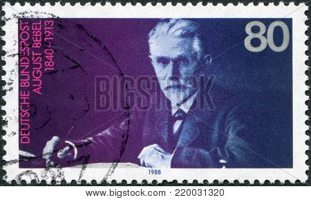 GERMANY - CIRCA 1988: A stamp printed in the Germany, shows August Bebel (1840-1913), Founder of the Social Democratic Party, circa 1988