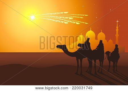 Three Kings: Melchior,Caspar,Balthazar follow the comet from orient vector illustration. Reyes Magos de Oriente holiday camel ride.