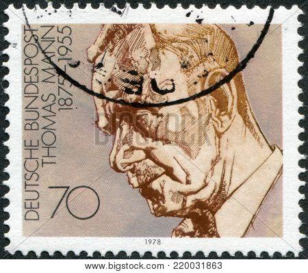 GERMANY - CIRCA 1978: A stamp printed in Germany, shows Thomas Mann, circa 1978