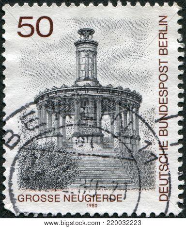 GERMANY - CIRCA 1980: A stamp printed in Germany (West Berlin), is shown Grosse Neugierde Memorial, circa 1980