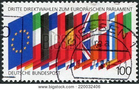 GERMANY - CIRCA 1989: A stamp printed in Germany, is dedicated to third election in the European Parliament, shows the flags of the EU, circa 1989