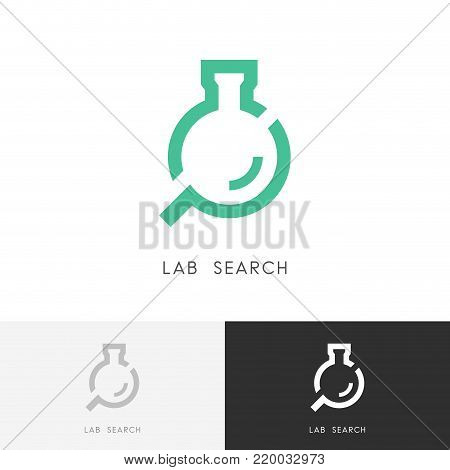 Lab search logo - laboratory test tube or bottle and loupe or magnifier symbol. Science, chemistry, medicine and research vector icon.