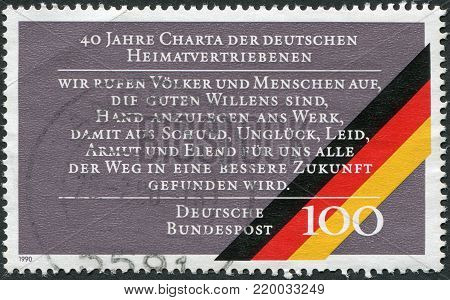 GERMANY - CIRCA 1990: A stamp printed in Germany, dedicated to 40th anniversary of the Charter of German Expellees, circa 1990