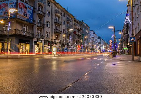 Gdynia, Poland - December 25, 2017: Swietojanska street at night during Christmas time.