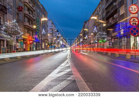 Gdynia, Poland - December 25, 2017: The light trails at Swietojanska street during Christmas time.