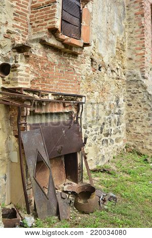 Destroyed kitchen in the house during World War 2 at Oradour-sur-Glane France