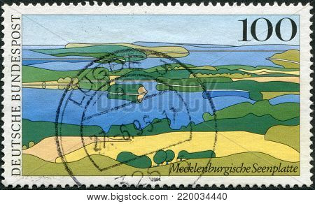 GERMANY - CIRCA 1994: A stamp printed in Germany, shows the Mecklenburg lake district, Muritz National Park, circa 1994