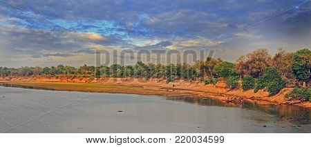 Scenic Cloudscape over the Luangwa River in South Luangwa National Park, Zambia, Southern Africa
