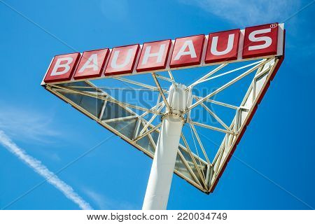 WETZLAR, HESSEN, GERMANY - June 2017 : Big BAUHAUS Logo on a large Signboard. Headquartered in Switzerland, Bauhaus is famous and one of the biggest chains of do it yourself stores all over Europe.