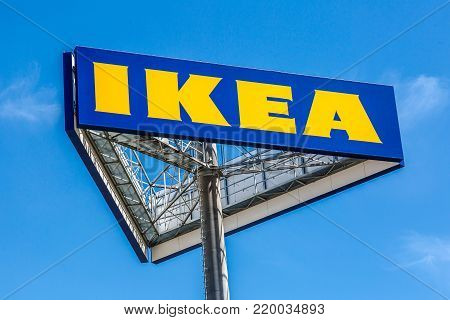 WETZLAR, HESSEN, GERMANY - June 2017 : Large IKEA Logo on a Sign Board. IKEA is a large furniture retailer and sells furniture ready to assemble. Founded in Sweden in 1943.
