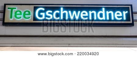 GIESSEN  GERMANY DECEMBER 2017: Illuminated  Logotype of  TEE GESCHWENDNER. TEE GESCHWENDNER is a tea shop chain based in Meckenheim Rheinland-Pfalz.