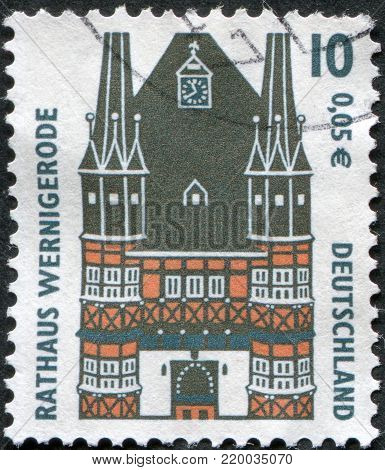 GERMANY - CIRCA 2001: A stamp printed in Germany, shows the Town Hall Wernigerode, circa 2001