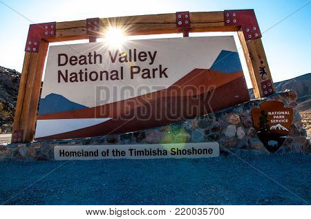 DEATH VALLEY NATIONAL PARK - SEPTEMBER 7, 2015: Entrance at Death Valley National Park at sunrise
