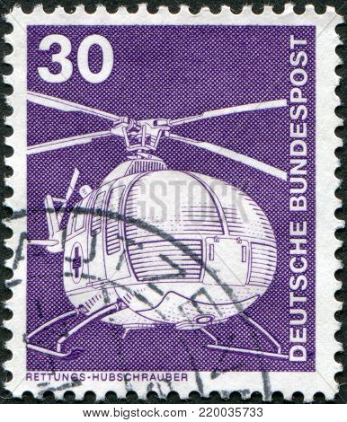 GERMANY - CIRCA 1975: A stamp printed in Germany, shows a model helicopter MBB, circa 1975