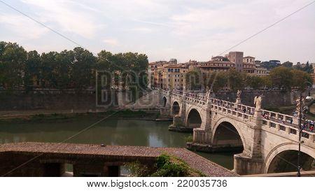 Tiber river Ponte Sant Angelo (Bridge of Holy Angel)