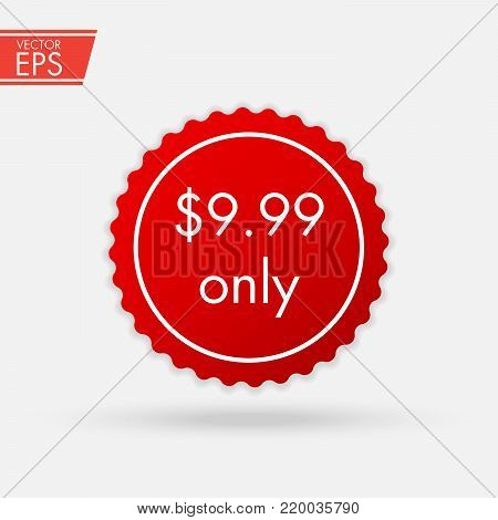 Price Discount Sticker. Sale Red Tag Isolated Vector Illustration. Discount Offer Price Label, Vector Price Discount Symbol. Sale banner. Realistic Red Glossy paper round sticker.