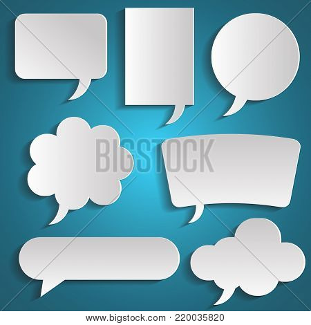 Speech bubbles set with shadows. Pape icons isolated. Thought , speech bubble. Dream cloud. Talk balloon. Quote box. Text, information frame. Banner and badge. Set of vector illustration icons.