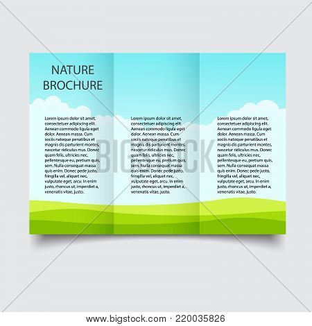 Nature ecological Brochure design, brochure template, creative tri-fold, trend brochure. Summer travel Blank brochure template. Mockup brochure. Template ready for your design. A4 size isolated.