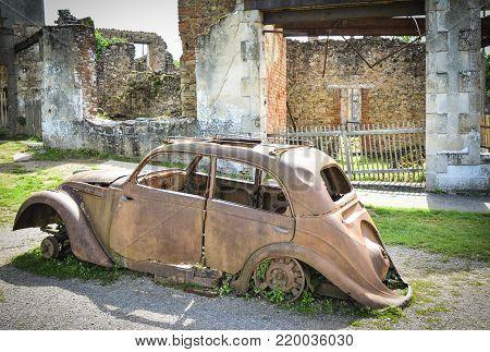 Destroyed cars during World War 2 in Oradour sur Glane France