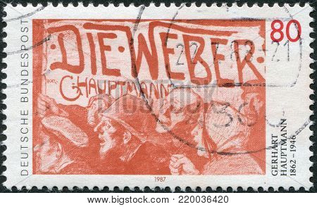 GERMANY - CIRCA 1987: A stamp printed in Germany, is dedicated to Gerhart Hauptmann, shows a poster for the drama