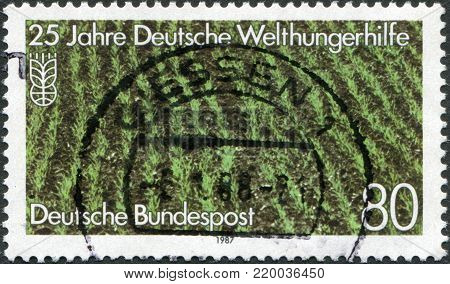 GERMANY - CIRCA 1987: A stamp printed in Germany, is dedicated to the 25th anniversary of German Agro Action Organization, shows a rice field, circa 1987