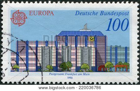 GERMANY - CIRCA 1990: A stamp printed in Germany, shows the Post offices in Frankfurt am Main: Modern Giro office, circa 1990