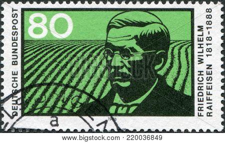 GERMANY - CIRCA 1988: A stamp printed in Germany, shows Friedrich Wilhelm Raiffeisen, circa 1988