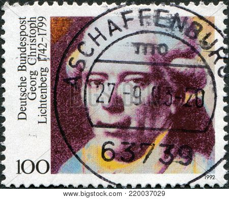 GERMANY - CIRCA 1992: A stamp printed in Germany, is dedicated to the 250th anniversary of the birth Georg Christoph Lichtenberg, circa 1992