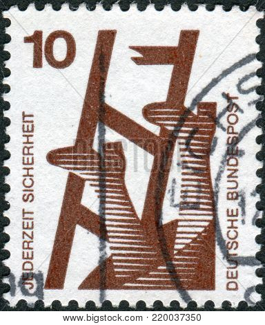 GERMANY - CIRCA 1972: A stamp printed in Germany, is dedicated to Accident prevention shows Broken ladder, circa 1972