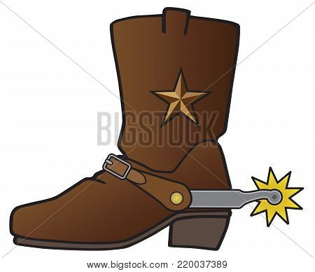 Leather cowboy boot with star decoration has spur attached