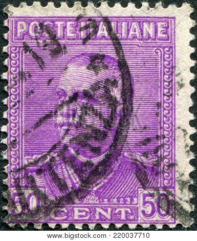 ITALY - CIRCA 1928: A stamp printed in Italy, shows the King of Italy Victor Emmanuel III, circa 1928