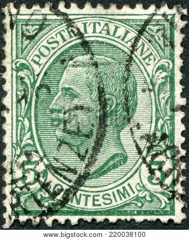 ITALY - CIRCA 1906: A stamp printed in Italy, shows the King of Italy Victor Emmanuel III, circa 1906
